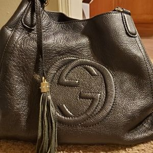 Gucci Bags - GUCCI SOHO BLACK LEATHER HOBO BAG